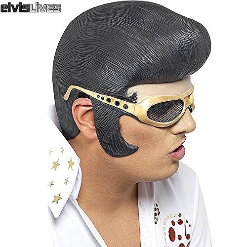 Elvis Mask (generique Men's Official Elvi Headpiece With Rubber Shades One Size Fits All Multi-Colored)