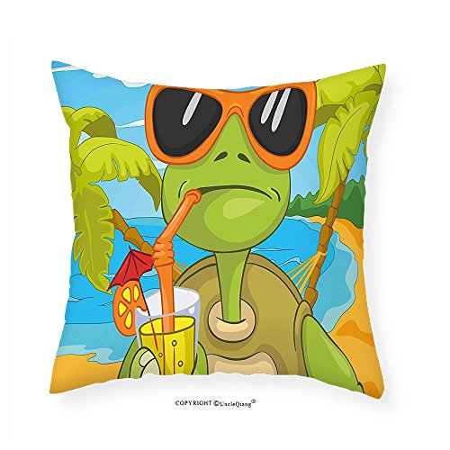 VROSELV Custom Cotton Linen Pillowcase Turtle Cool Sea Turtle with Sunglasses Drinking Cocktail at the Beach Cartoon for Bedroom Living Room Dorm Green Orange Light Blue - Sunglasses Peter Nice