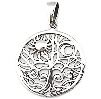 Solid Sterling Silver Pentagram Tree of Life Pendant Pagan (P014) H0RCbBd