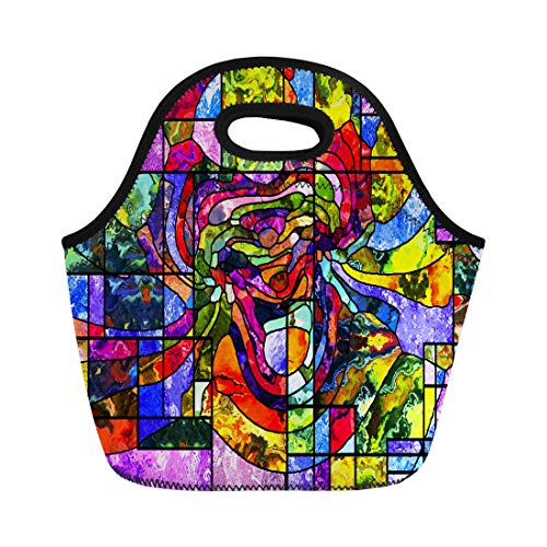 Semtomn Lunch Tote Bag Stained Glass Series Artistic Abstraction Composed of Organic Patterns Reusable Neoprene Insulated Thermal Outdoor Picnic Lunchbox for Men Women