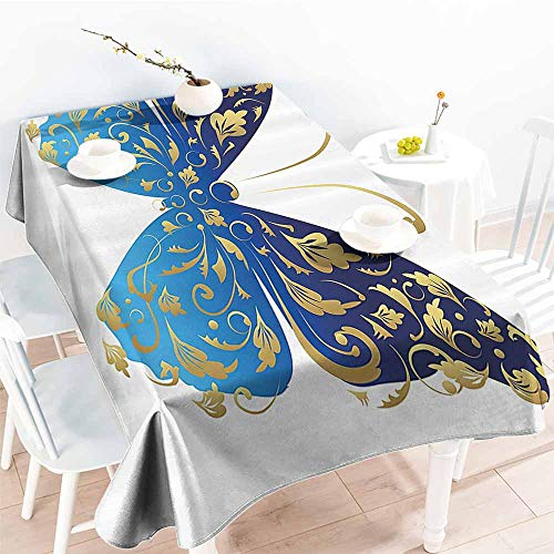- HRoomDecor 3D Printed Tablecloth,Animal,Blue Butterfly Figure Embellished with Wavy Artistic Leaves Graphic,Light Blue Dark Blue Gold 54