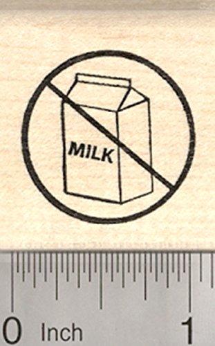 Universal No Symbol - Dairy Free Rubber Stamp, Menu Symbol, Universal No Sign with Milk Carton