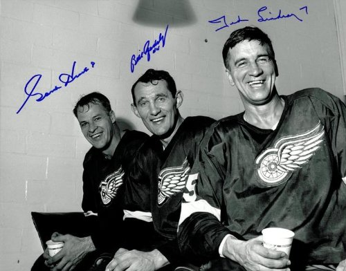 Gordie Howe, Ted Lindsay, and Bill Gadsby Autographed 11x...