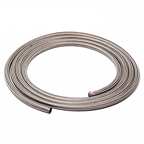SUNROAD 4AN 15Ft Universal Stainless Steel/Nylon Braided Fuel Oil Line Hose