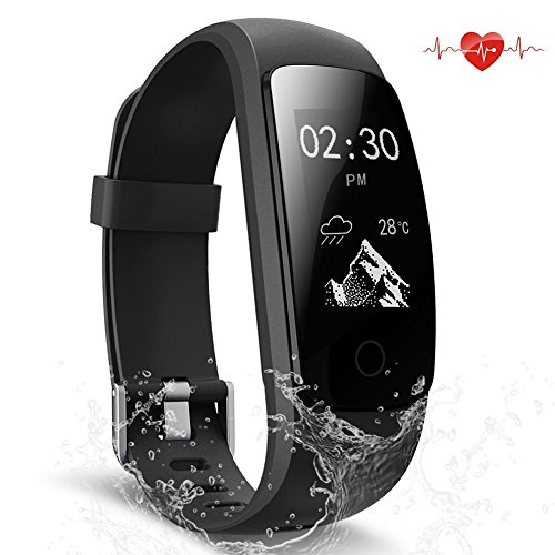 ScoFit Fitness Tracker Waterproof Activity Tracker with Heart Rate Monitor Smart Bracelet Wristband Bluetooth Wireless Pedometer Sleep Monitor Smartwatch for Android and iOS Smartphones (black)