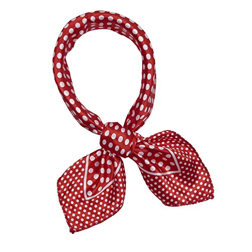 Women Fashion Silky Smooth Satin Square Scarf Polka-dot Red Size 50*50cm