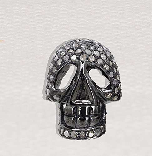 Christmas Sale 925 Sterling Silver Natural Pave Diamond Skull Spacer Finding, Silver Diamond Skull Spacer Finding by Jaipur Handmade Jewelry
