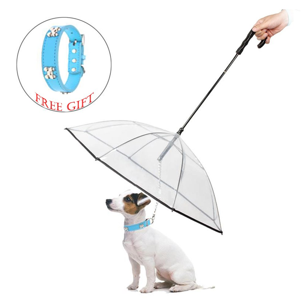 ABZON Transparent Pet Dog Umbrella With Leash.Extra Long Handle & Extra Strong Leash & Pre-Assembled.Perfect Gift for Dogs and Pet Lover.(Fits 20'' Pet's Back Length)