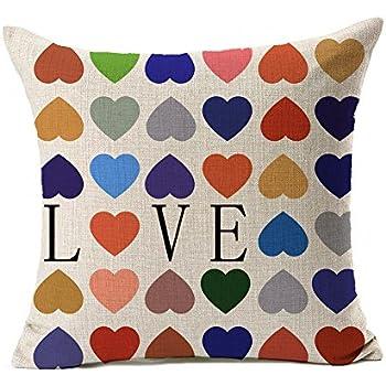 4TH Emotion Colorful Heart Shape Love Cotton Linen Square Throw Pillow Cover Decorative Cushion Sham Pillowcase Cushion Case for Sofa 18 x 18 Inch