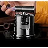 Best Cigar Lighter - High End Table Top 4 Jet Adjustable Torch -Windproof - Italian Inspired Design - Cigar Aficionado Must - Best Dabber Tool - High Capacity Butane Tank - Culinary Creme Brulee Torch