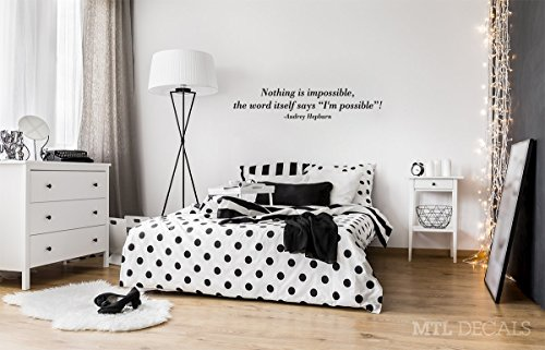 Nothing is Impossible Wall Decal, Audrey Hepburn Wall Quote Vinyl Sticker, Wall Decor, Bedroom (Mtl Wall Decor)