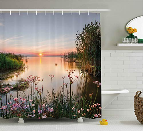 Ambesonne Nature Shower Curtain, Sunset at Chudskoy Lake Estonia View Spring Flowers Landscape Photo, Cloth Fabric Bathroom Decor Set with Hooks, 84