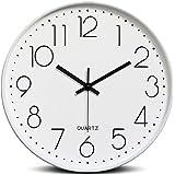 winkong 掛け時計 直径約30cm ホワイト 北欧 スイープムーブメント式掛け時計 防塵クロック 壁掛け インテリアクロック