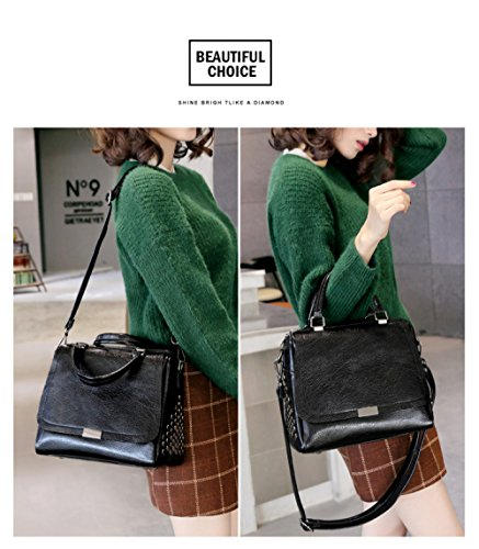 Bag Capacity Women's FLHT Shoulder Seasons Leather Genuine Four Bag Leather Messenger Large Green Tote Bag Vintage gv1qRFTv