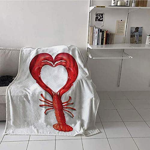 alilihome Children's Blanket Convenience Lightweight All-Season Blanket (50 by 60 Inch,Sea Animals,A Boiled Lobster Shaped as A Heart Symbol Seafood Love Valentines Restaurant Menu Art,Red