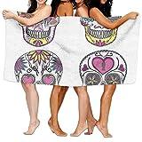Haixia Oversized Bath Towel Beach/Bath/Pool Towel 51.2'' X 31.5'' Sugar Skull Decor Mexican Style Traditional Sugar Skulls Set Hearts Ornate Floral Motifs Decorative