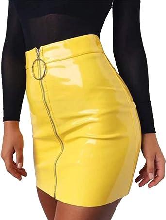 A. M. Sport Falda Cuero sintético Mini Falda Mujer. Falda Sexy y ...