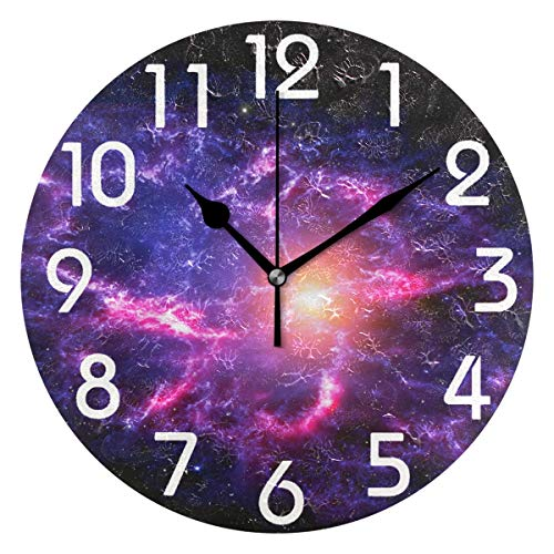 (Naanle Magic Out Space Nebula Stars Printed Silent Round Wall Clock Decorative, 9.5 Inch Battery Operated Quartz Analog Quiet Desk Clock for Home,Office,School)
