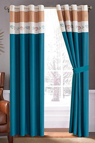 Modern NAVY BLUE / WHITE / BROWN Tropical Coast Seashell Starfish Beach Curtain set 116