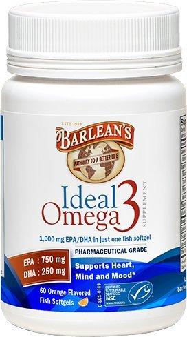 - Barlean's Ideal Omega 3 Orange - 1000 mg - 60 Softgels