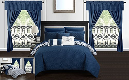 Chic Home Sigal 20 Piece Comforter Set Reversible Geometric Quilted Design Complete Bed in a Bag Bedding – Sheets Decorative Pillows Shams Window Treatments Curtains Included King ()