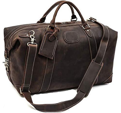 ROCKCOW Vintage Look Men's Leather Weekender Duffel Bag Luggage Holdall