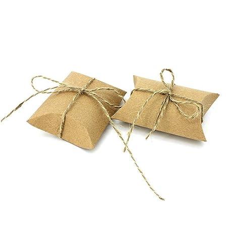 JZK 50 Cajas vintage kraft marrón envolver cajas de dulces de regalo para boda cumpleaños baby