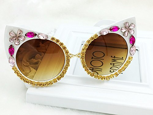 Fashion Designer Crystal Flower Cat Eye Sunglasses Baroque Women Beach Sungalsses Female Vintage UV400 Sun - Sunglasses Gold Cartier