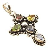 Silver Plated 5 Stone Designer CROSS Pendant ! Natural Multi Color Choice Drop Gemstones ! Handmade Jewelry