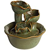 "John Timberland Organic Water Lily Ceramic 8"" High Tabletop Fountain"