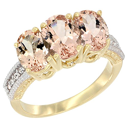 - Silver City Jewelry 10K Yellow Gold Natural Morganite Ring 3-Stone Oval 7x5 mm, Size 5