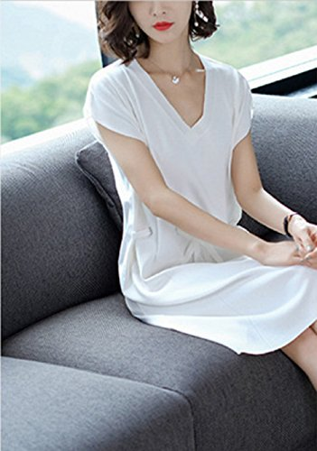 Knit Women`S Dress Solid cotyledon Sleeve Short Dresses Color White Casual Aqc40