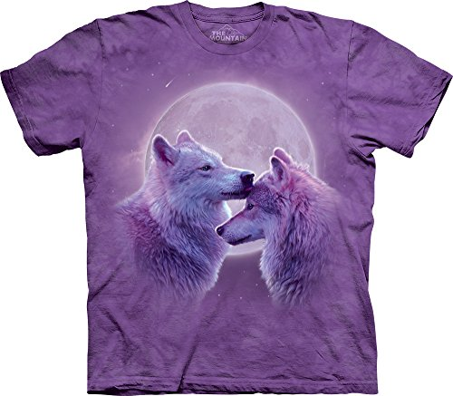 The Mountain Men's Loving Wolves T-Shirt, Purple, Large