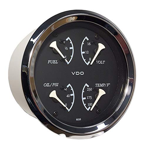 - Vdo Allentare 4 In 1 Gauge - 85mm - Black Dial/White Pointer - Oil Pressure, Water Temp, Fuel Level, Voltmeter - Chrome Bezel