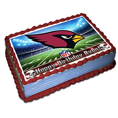 Arizona Cardinals NFL Personalized Cake Topper Icing Sugar Paper 8.5 x 11.5 Inches Sheet Edible Frosting Photo Birthday Cake Topper (Best Quality Printing)