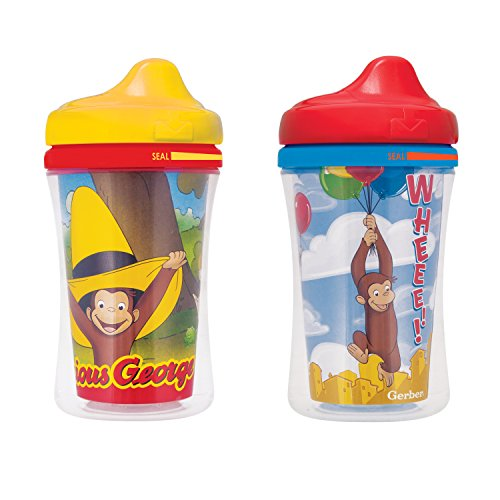 NUK Gerber Graduates Curious George Insulated Hard Spout Sippy Cup, 9-Ounce, 2-Pack]()