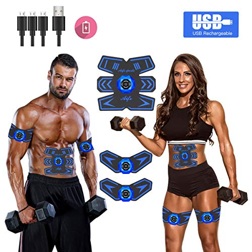 (Abs Stimulator Ab Stimulator Muscle Toner Rechargeable Muscle Trainer Ultimate Abs Stimulator for Men Women Abdominal Work Out Ads Power Fitness Abs Muscle Training Gear ABS Workout Equipment Portable)