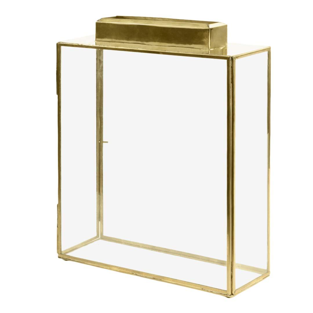 Koyal Wholesale Glass Wedding Card Gift Box Holder, Reception Drop Box, Large Pillar Candle Holder, Modern Lantern Table Decor, Geometric Wedding Decor (Gold, 15.5 x 11.5 x 4-Inch) by Koyal Wholesale