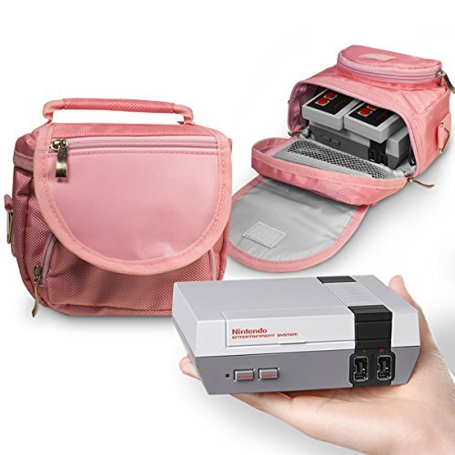 Orzly Travel & Storage Bag for Nintendo NES Classic Edition (New 2016 Model Mini Version of NES Console) - Fits Console + Cable + 2 Controllers - Includes Shoulder Strap + Carry Handle - PINK