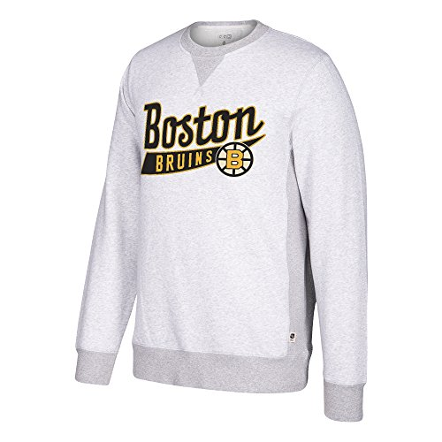- adidas NHL Boston Bruins CCM Finished Crew Fleece, Light Grey Heathered, Large