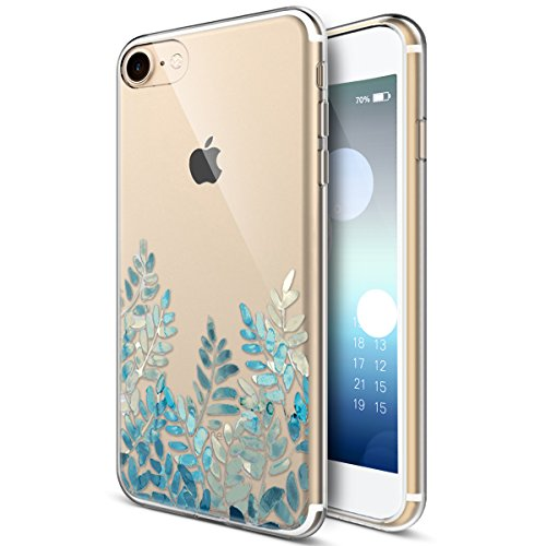 - iPhone 8 Case,iPhone 7 Case,ikasus Ultra Thin Soft TPU Case,Embossed Painting Green Leaves Flower Soft Silicone Rubber Bumper Crystal Clear Soft Floral Silicone Back Cover for iPhone 8 / iPhone 7,#8
