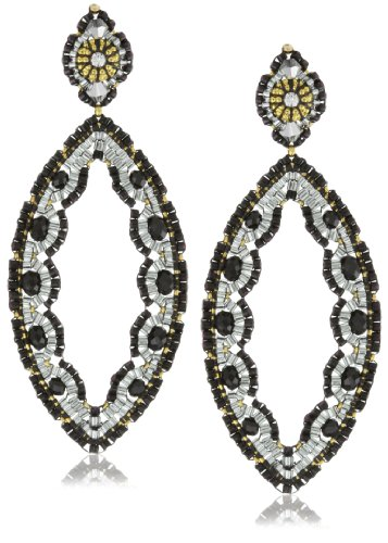 Miguel Ases Black Quartz and Swarovski Cut-Out Marquise Earrings