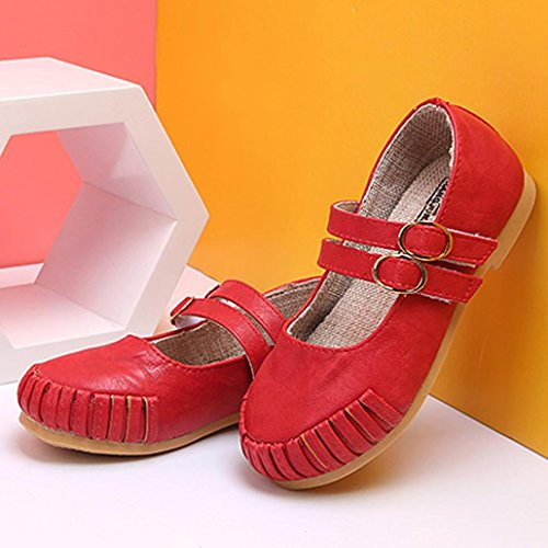 Prevently Mädchenschuhe Baotou Kinder Retro Casual Schuhe Mädchen Mode Sandalen Kinder Casual Schuhe Peas Schuhe Prinzessin Schuhe Rot