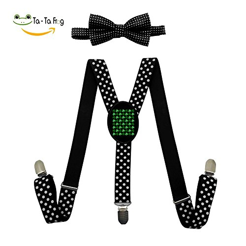 XTQI Green St Patrick's Day Suspenders Bowtie Set-Adjustable Length