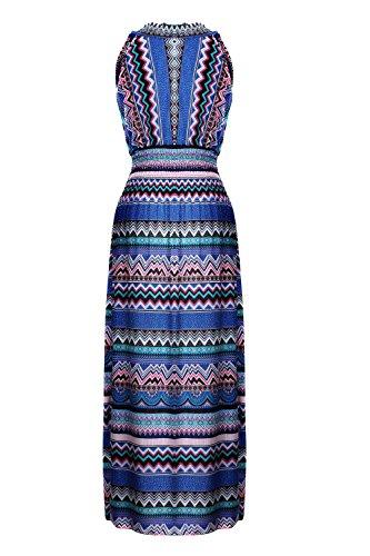 G2 Chic Women's Bohemian Summer Maxi Dress(DRS-MAX,BLUA1-L)