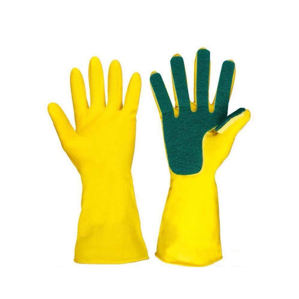 AOLVO cucina guanto di pulizia Lavare guanti di gomma spugna finger scrub Pads pulizia lavaggio guanti da cucina strumento per la pulizia del detersivo per bucato