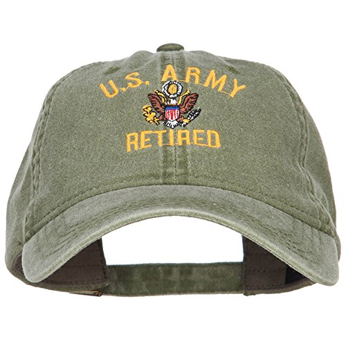 E4hats US Army Retired Military Embroidered Washed Cap - Olive -