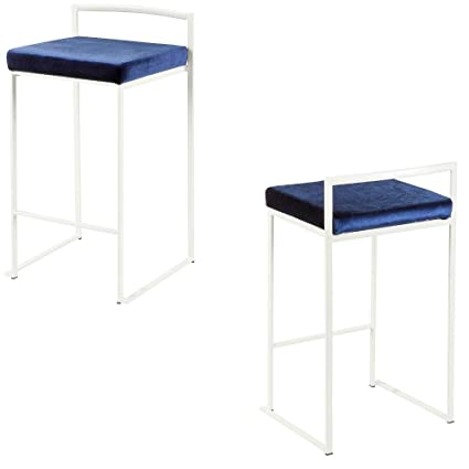 Groovy Amazon Com Blue Velvet Counter Stools White Bar Stools Set Bralicious Painted Fabric Chair Ideas Braliciousco