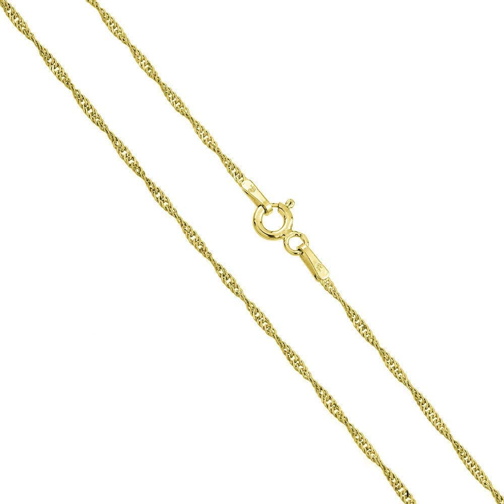 """14K Gold 1.8MM Singapore Chain Necklace- Available in Yellow, White Rose or 3 tone -14""""-30"""""""