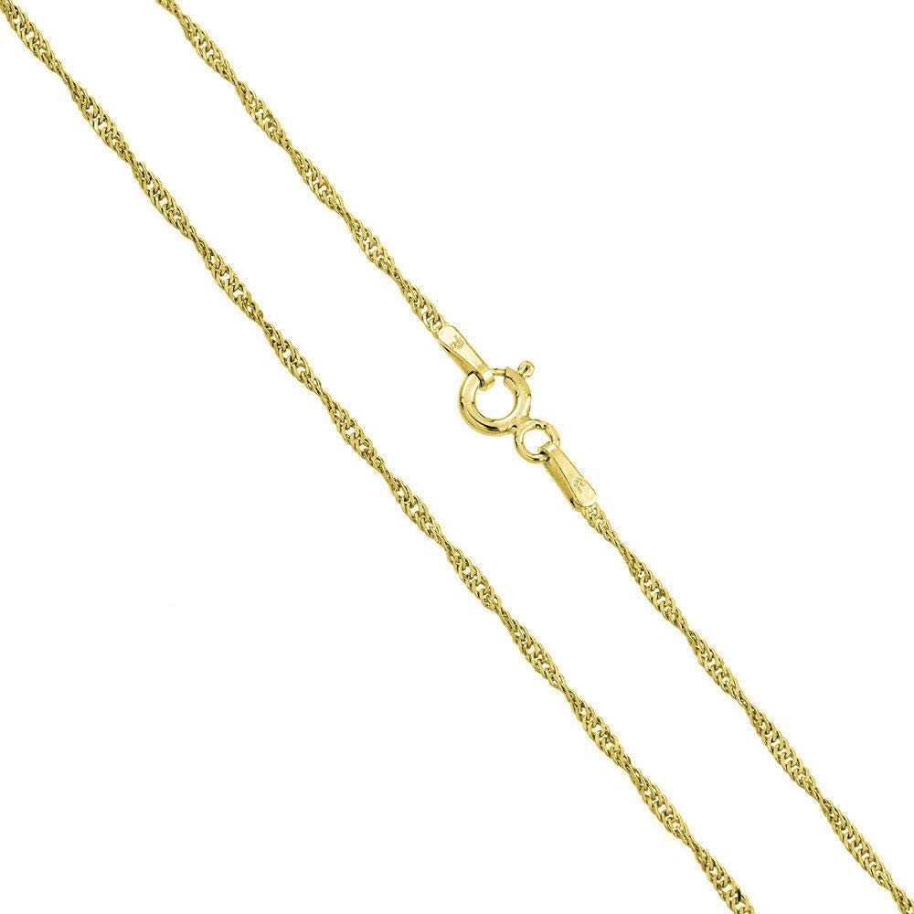 14K Gold 1.8MM Singapore Chain Necklace- Yellow, White Rose or 3 tone -14''-30'' (Yellow, 18)